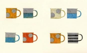 中囿義光さんのマグカップをモチーフにした紙版画